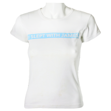 "Lady Victoria Hervey T-Shirt with ""I Slept with James,"" Print"