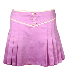 Lady Victoria Hervey Multicolor Pleated Short Skirt with Stitching and Buttons