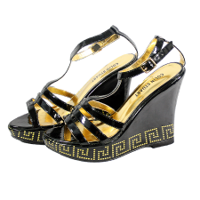 Vivica A. Fox Wedges with Ankle Straps with Gold Lining & Patterned Designs