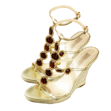 Vivica A. Fox Wedge Sandals with Ankle Strap, Tiger Stripe Gemstones & Rhinestones