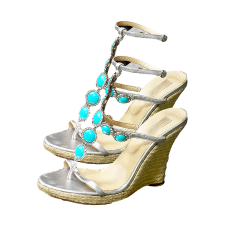 Vivica A. Fox Wedge Sandals with Ankle Strap, Turquoise Gemstones & Rhinestones