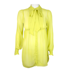 Lady Victoria Hervey Pleated Chiffon Blouse with a Tie