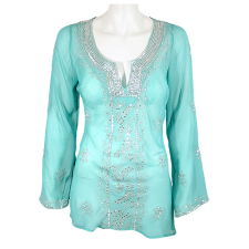 Lady Victoria Hervey Transparent Sequined Embroidered Top with Flower Pattern