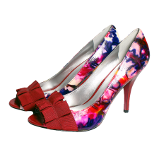Paris Hilton Autographed Floral Heels Shoes
