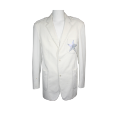 Terrell Owens Custom Made Single Breasted Blazer with Rhinestoned Star Embroidery & Blue Stitching