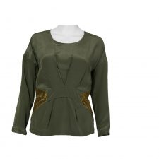 Celine Durand,Silk Green Top