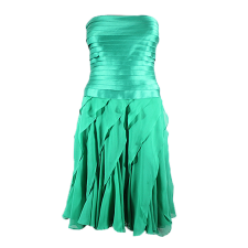 Lady Victoria Hervey Satin Ruffle Dress with Pleated Bustier