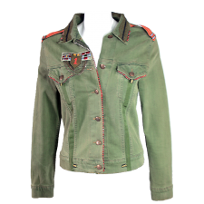 Vivica A. Fox Military Style Jacket with  Embroidered with Rhinestones and Lace Trim